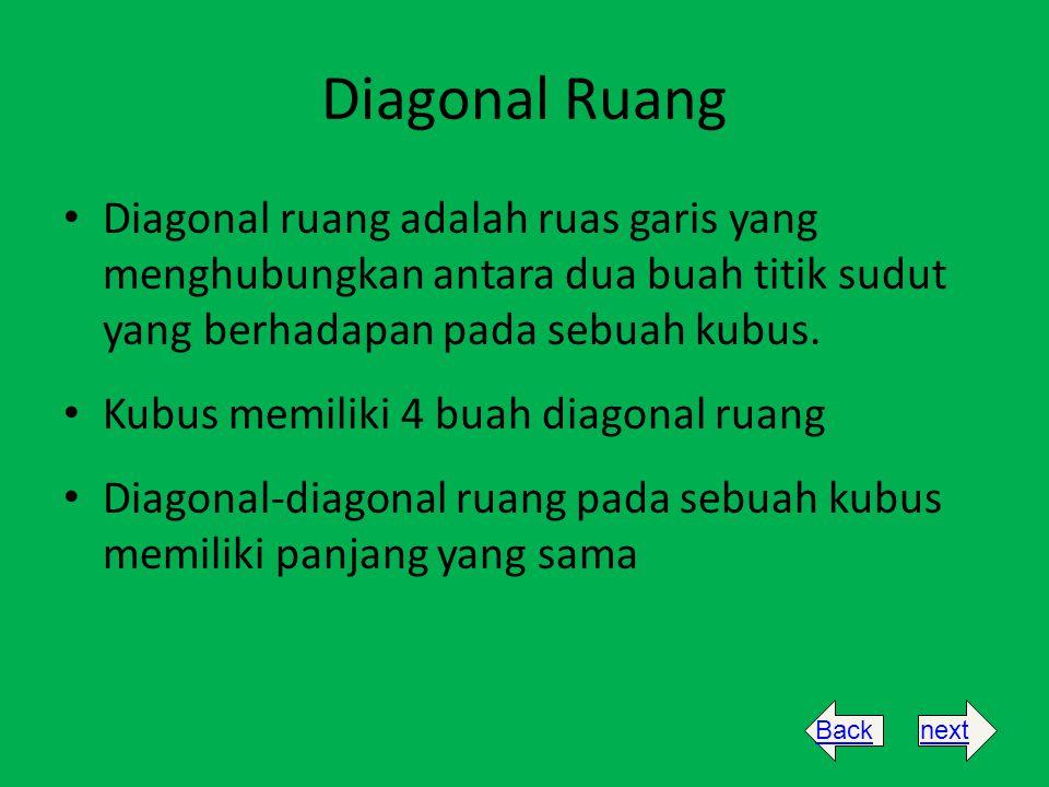 Diagonal Ruang Diagonal ruang adalah ruas garis yang menghubungkan antara dua buah titik sudut yang berhadapan pada sebuah kubus.