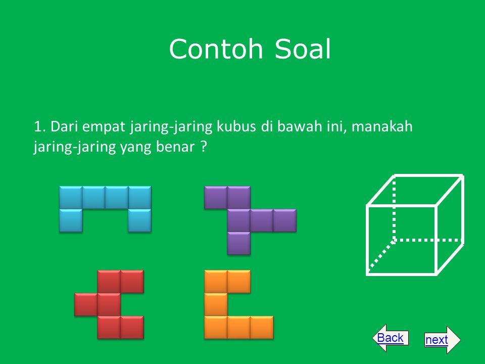 Contoh Soal 1. Dari empat jaring-jaring kubus di bawah ini, manakah jaring-jaring yang benar