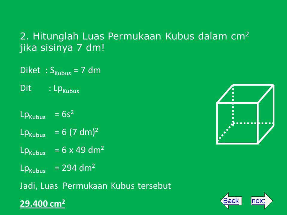 Jadi, Luas Permukaan Kubus tersebut 29.400 cm2