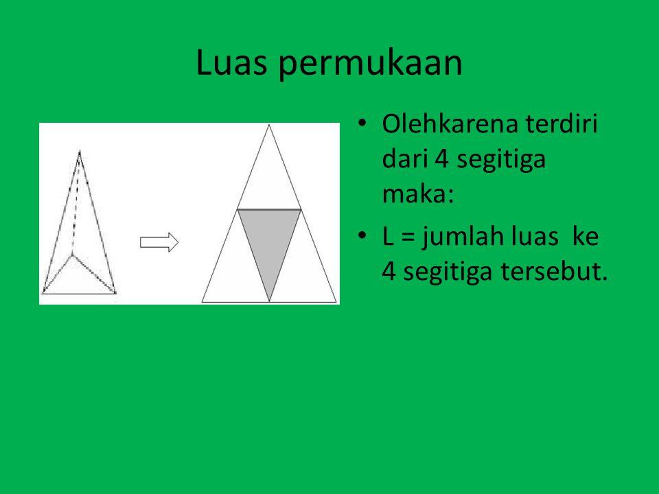 Luas permukaan Olehkarena terdiri dari 4 segitiga maka: