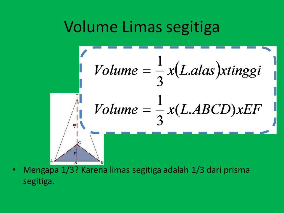 Volume Limas segitiga Mengapa 1/3 Karena limas segitiga adalah 1/3 dari prisma segitiga.