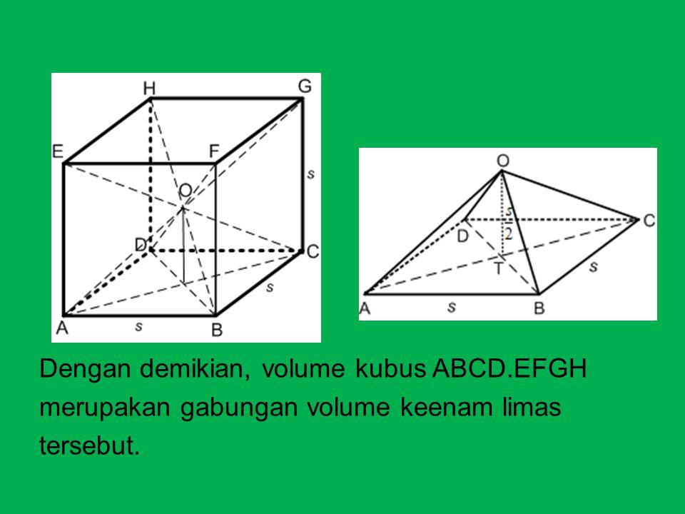 VOLUME LIMAS Dengan demikian, volume kubus ABCD.EFGH merupakan gabungan volume keenam limas tersebut.
