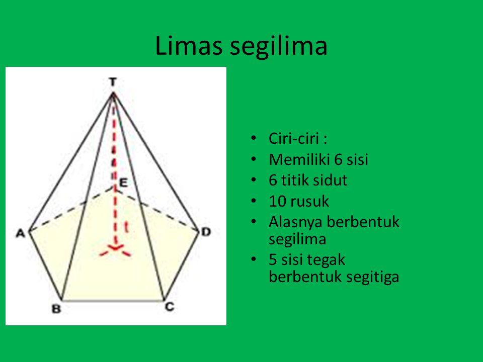 Limas segilima Ciri-ciri : Memiliki 6 sisi 6 titik sidut 10 rusuk