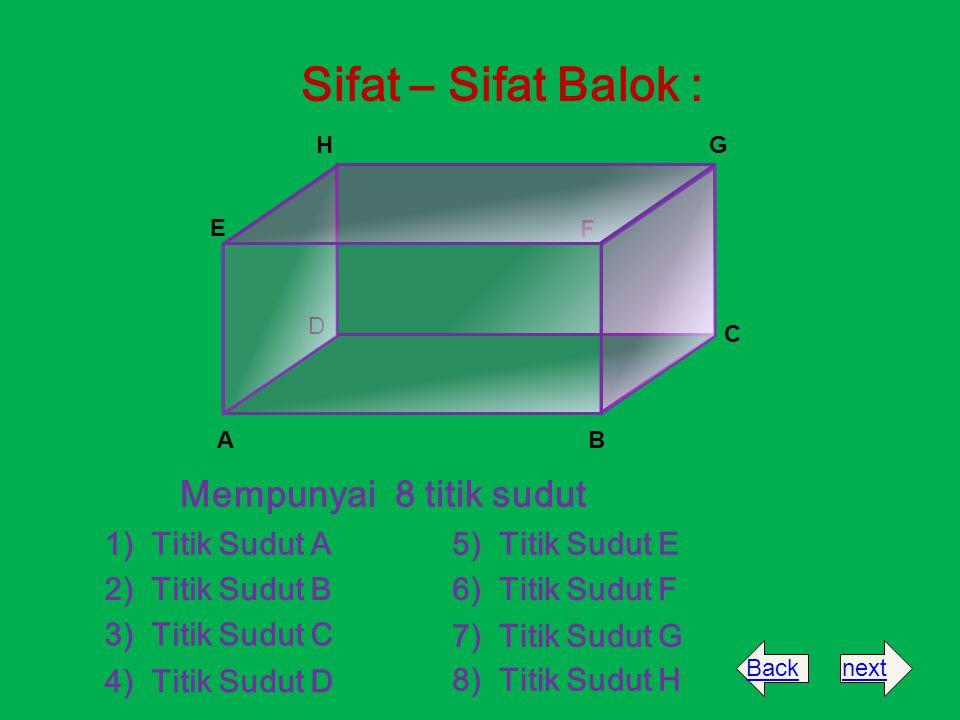 Sifat – Sifat Balok : Mempunyai 8 titik sudut 1) Titik Sudut A