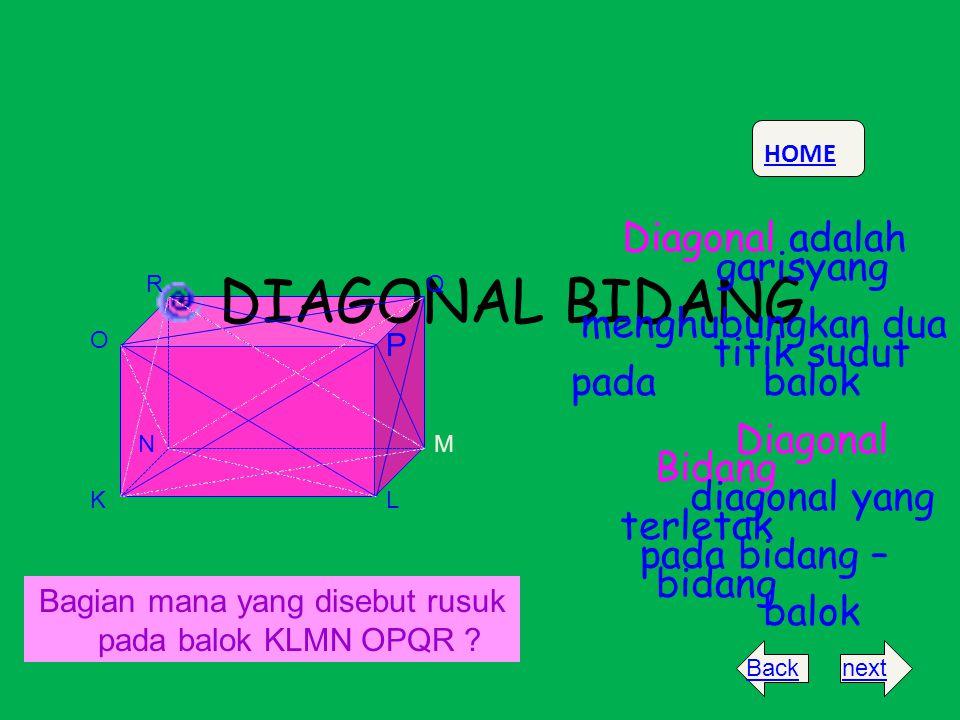 DIAGONAL BIDANG garisyang menghubungkan dua titik sudut pada balok
