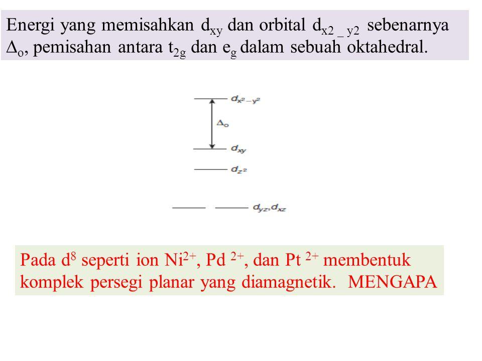 Energi yang memisahkan dxy dan orbital dx2 _ y2 sebenarnya ∆o, pemisahan antara t2g dan eg dalam sebuah oktahedral.