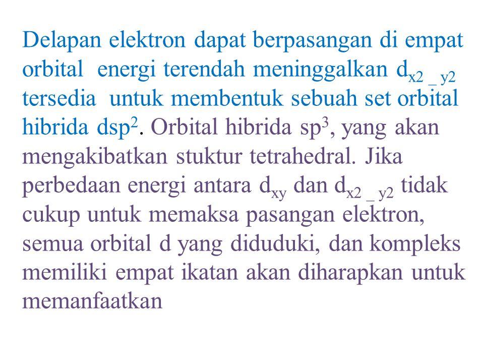 Delapan elektron dapat berpasangan di empat orbital energi terendah meninggalkan dx2 _ y2 tersedia untuk membentuk sebuah set orbital hibrida dsp2.