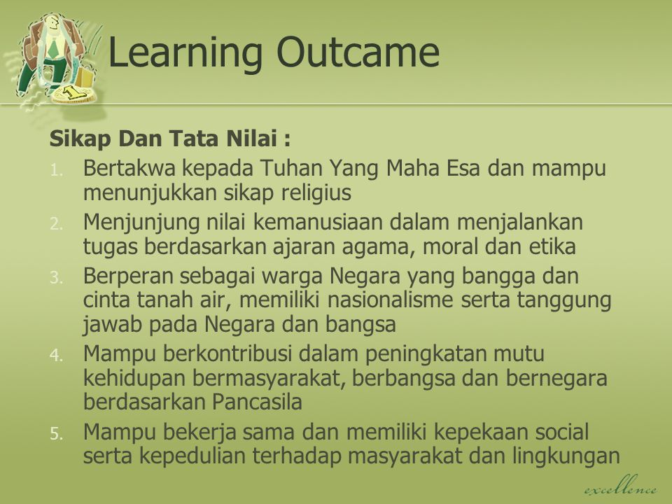 Learning Outcame Sikap Dan Tata Nilai :