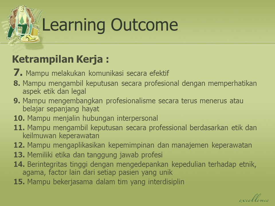 Learning Outcome Ketrampilan Kerja :
