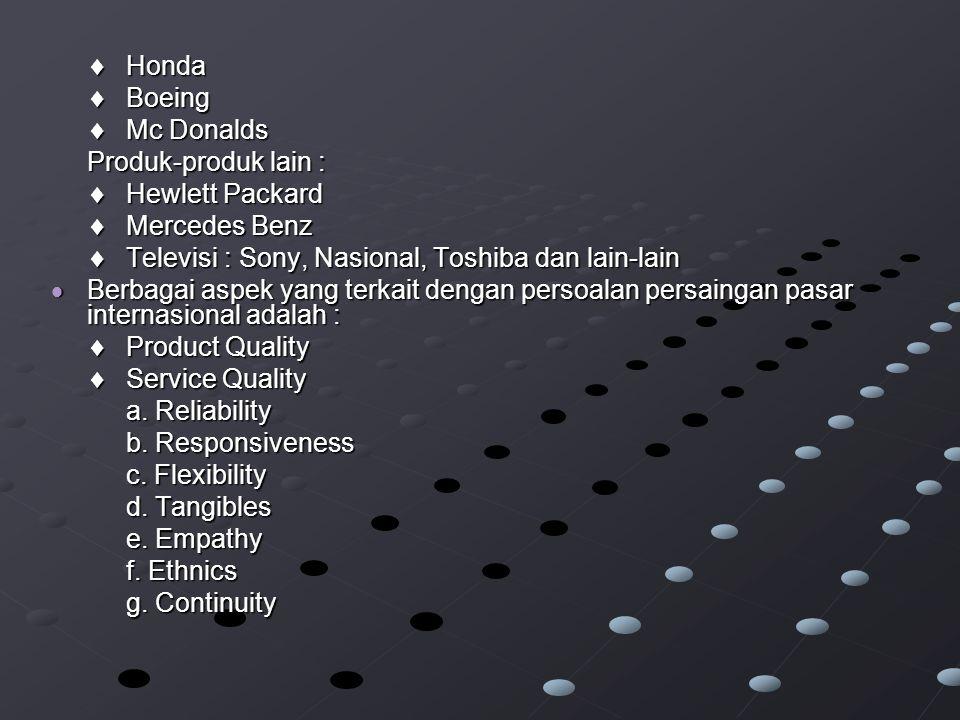 Honda  Boeing.  Mc Donalds. Produk-produk lain :  Hewlett Packard.  Mercedes Benz.  Televisi : Sony, Nasional, Toshiba dan lain-lain.