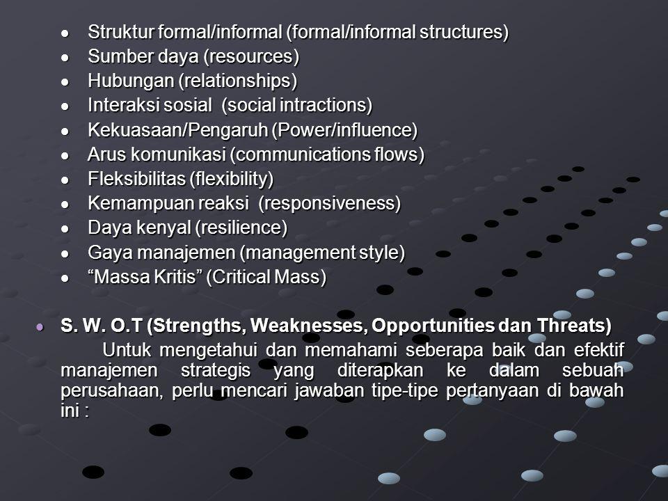  Struktur formal/informal (formal/informal structures)
