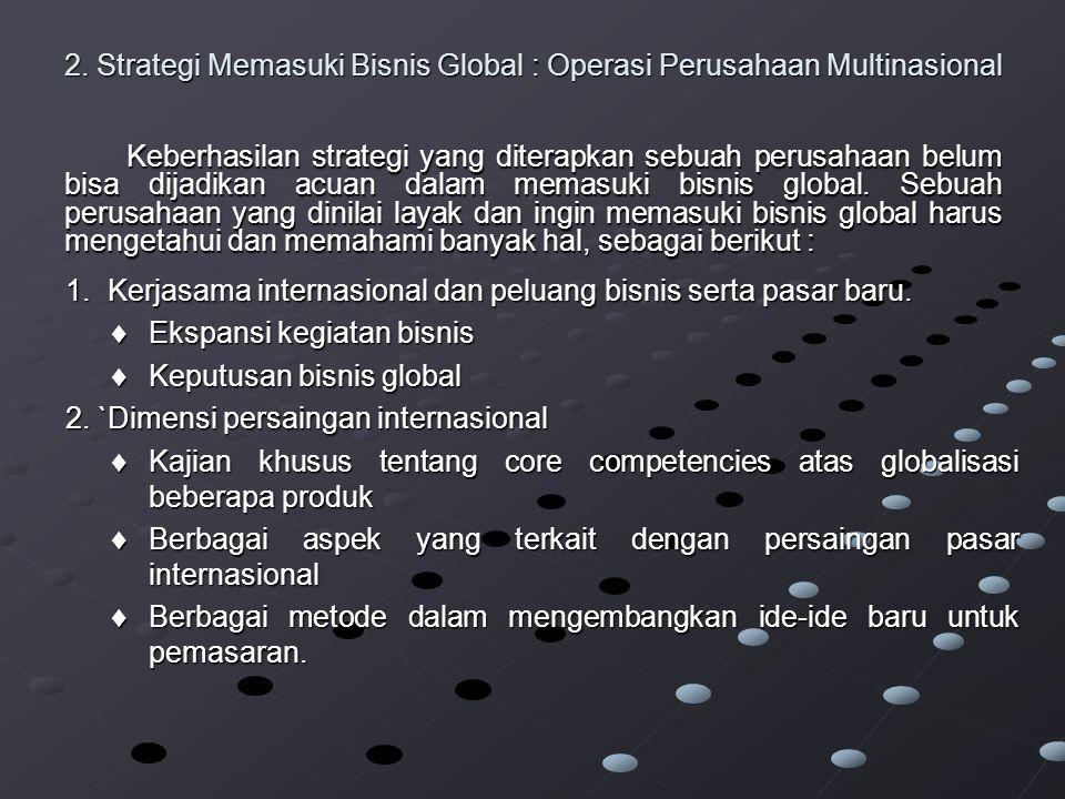 2. Strategi Memasuki Bisnis Global : Operasi Perusahaan Multinasional