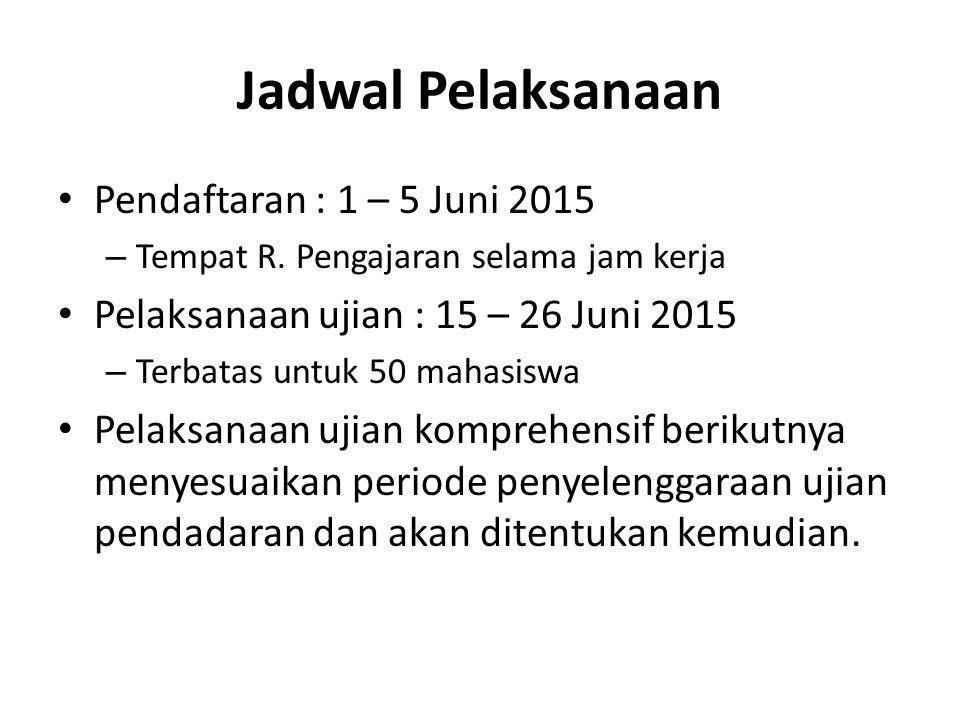 Jadwal Pelaksanaan Pendaftaran : 1 – 5 Juni 2015