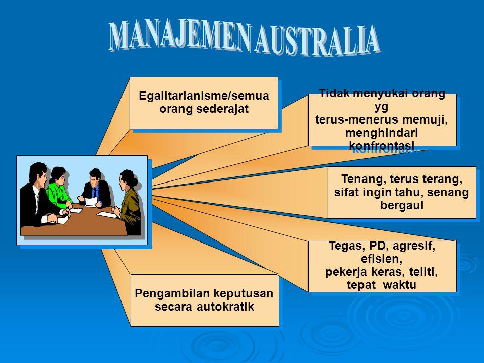 MANAJEMEN AUSTRALIA Egalitarianisme/semua orang sederajat
