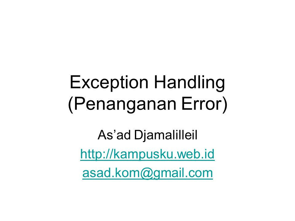 Exception Handling (Penanganan Error)