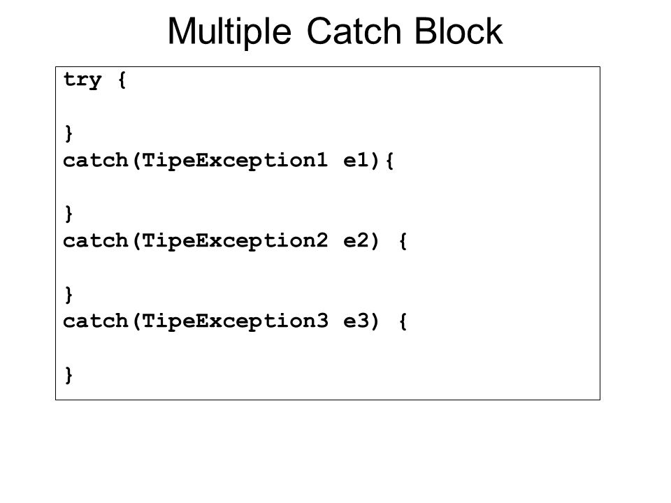 Multiple Catch Block try { } catch(TipeException1 e1){