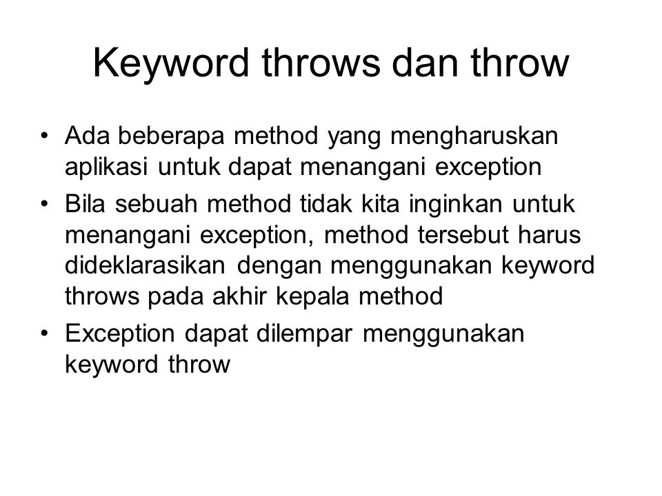 Keyword throws dan throw