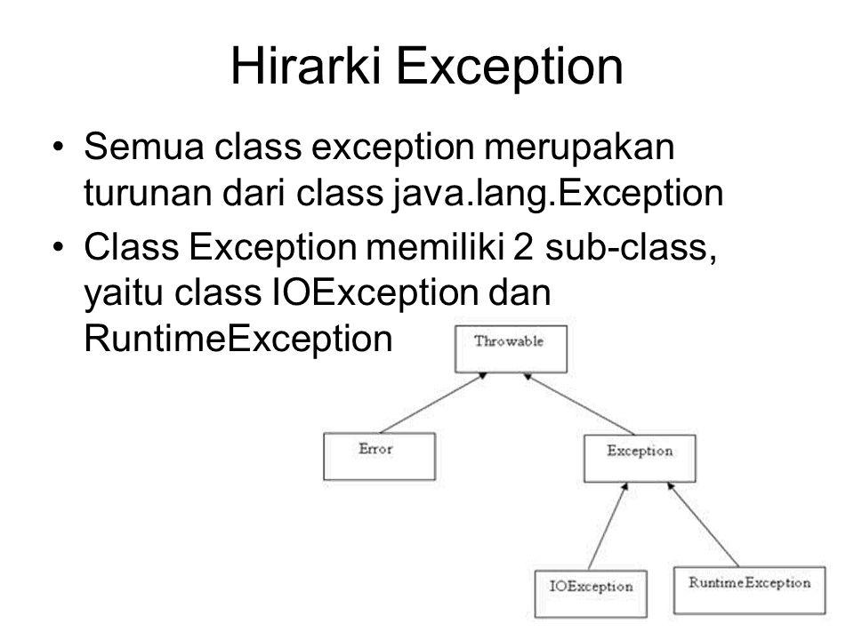 Hirarki Exception Semua class exception merupakan turunan dari class java.lang.Exception.
