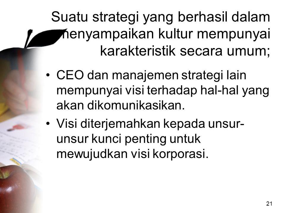 Suatu strategi yang berhasil dalam menyampaikan kultur mempunyai karakteristik secara umum;