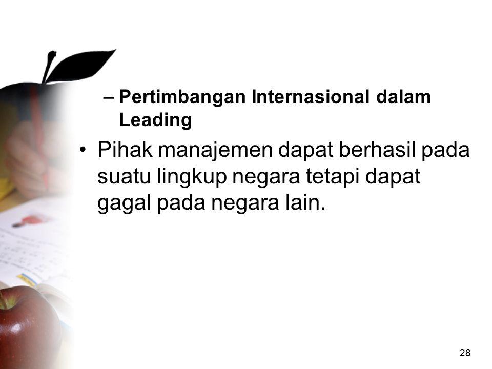 Pertimbangan Internasional dalam Leading