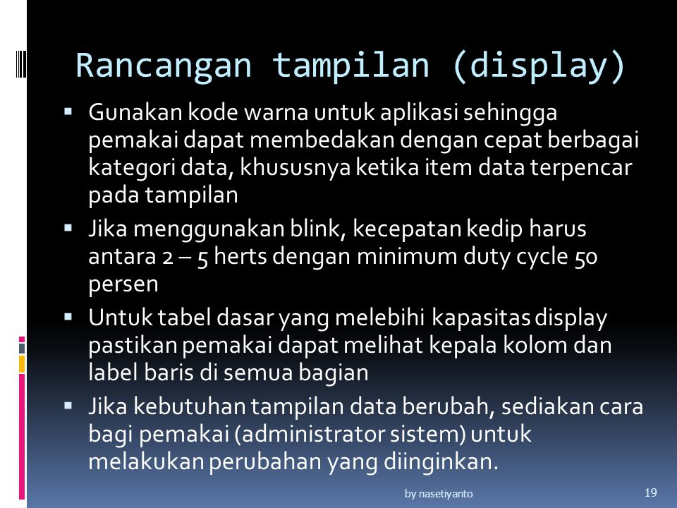 Rancangan tampilan (display)