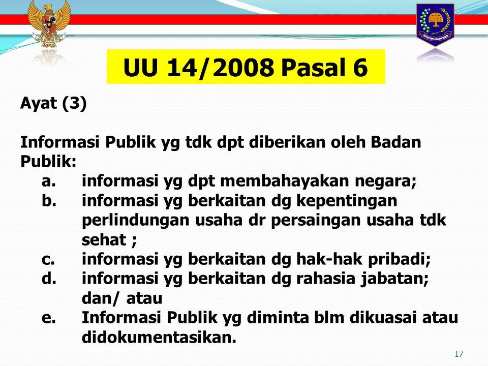 UU 14/2008 Pasal 6 Ayat (3) Informasi Publik yg tdk dpt diberikan oleh Badan Publik: a. informasi yg dpt membahayakan negara;