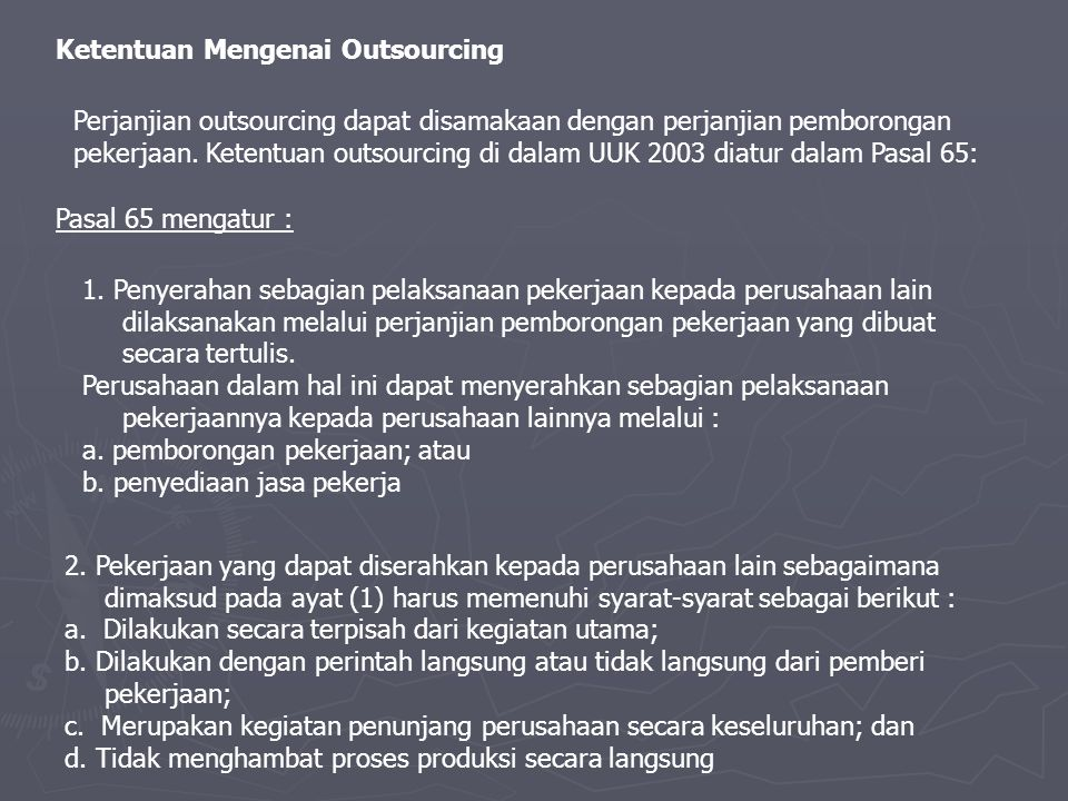 Ketentuan Mengenai Outsourcing