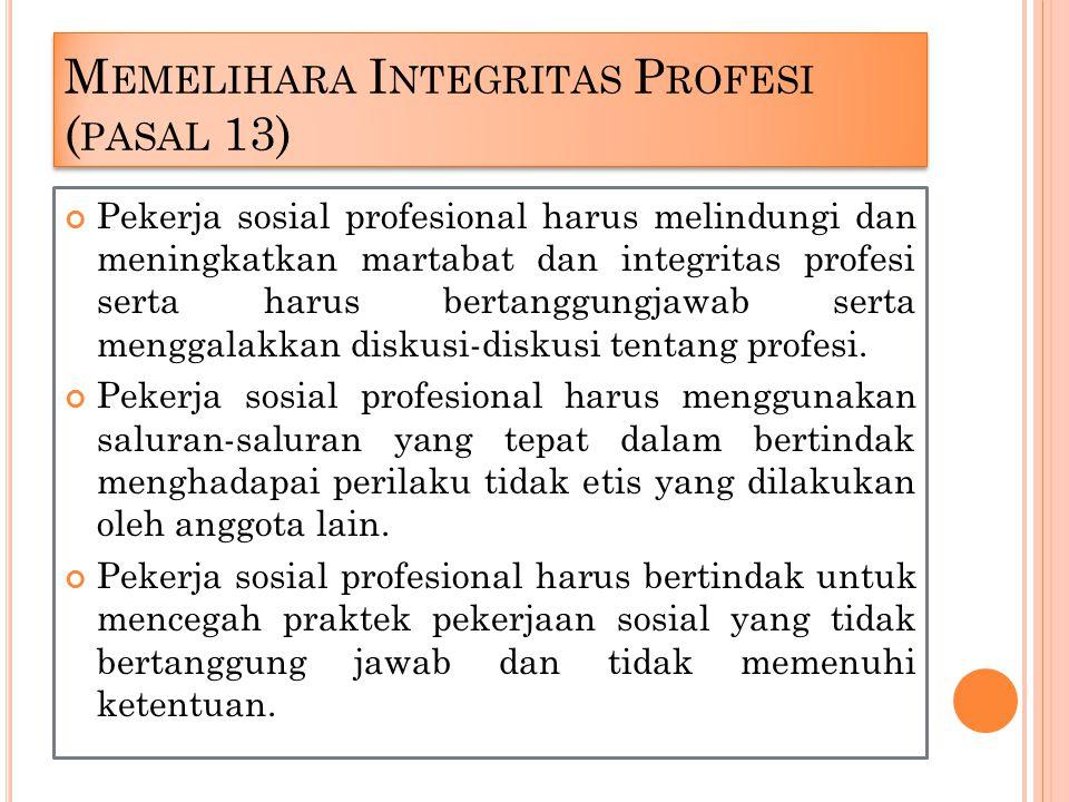 Memelihara Integritas Profesi (pasal 13)