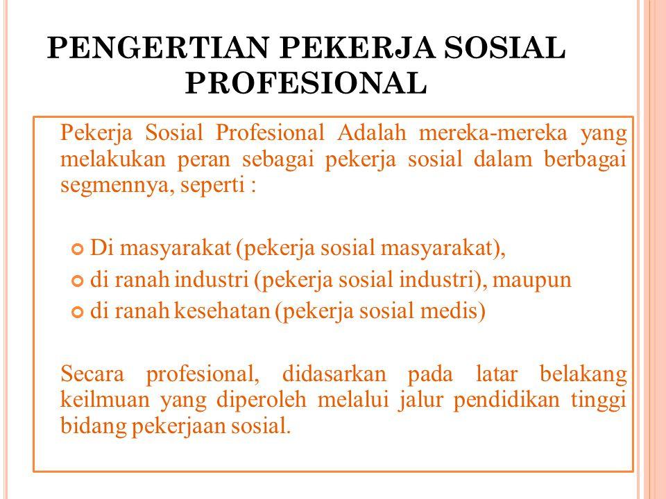 PENGERTIAN PEKERJA SOSIAL PROFESIONAL