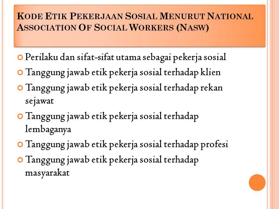Kode Etik Pekerjaan Sosial Menurut National Association Of Social Workers (Nasw)