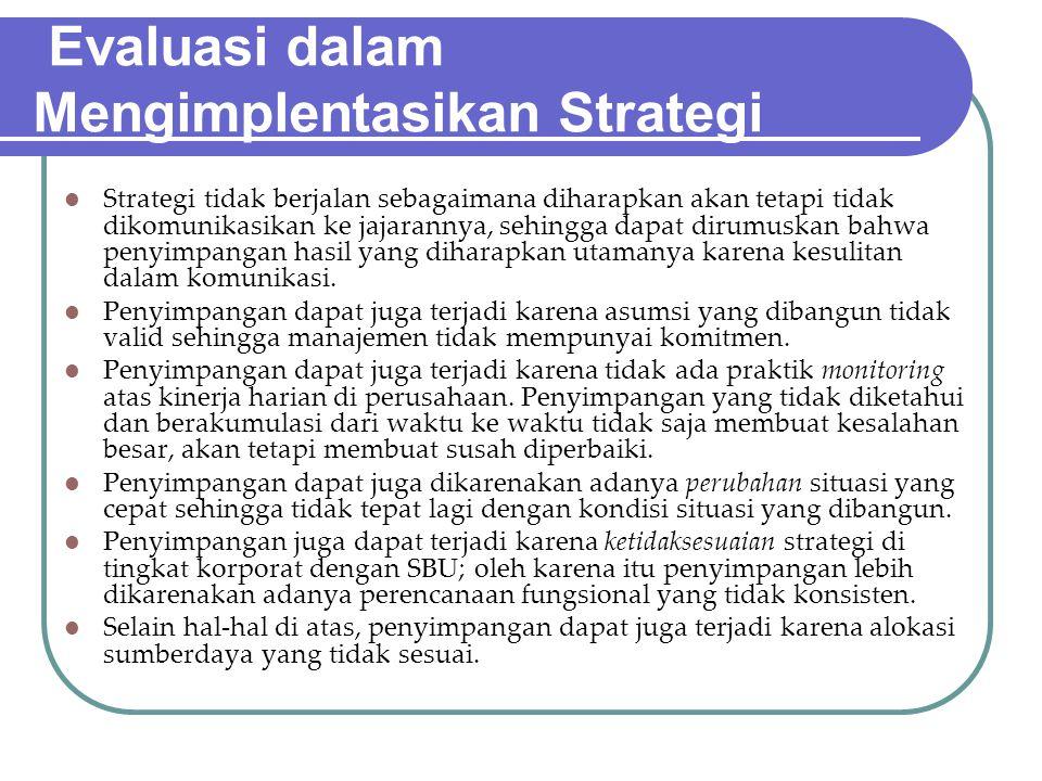 Evaluasi dalam Mengimplentasikan Strategi
