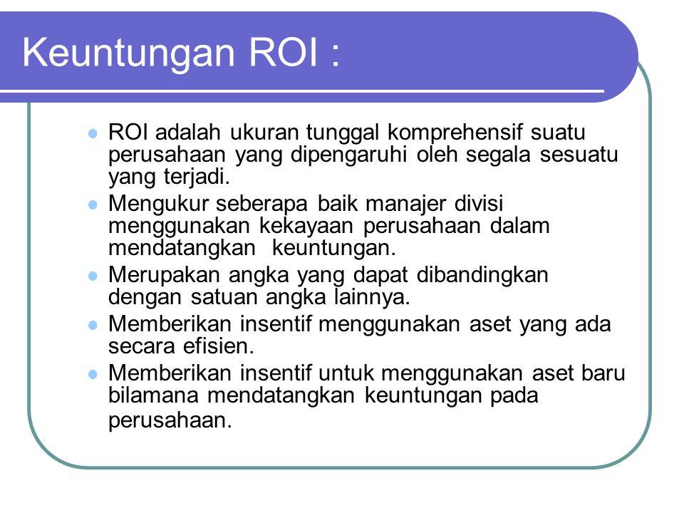 Keuntungan ROI : ROI adalah ukuran tunggal komprehensif suatu perusahaan yang dipengaruhi oleh segala sesuatu yang terjadi.