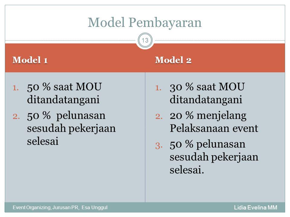 Model Pembayaran 50 % saat MOU ditandatangani
