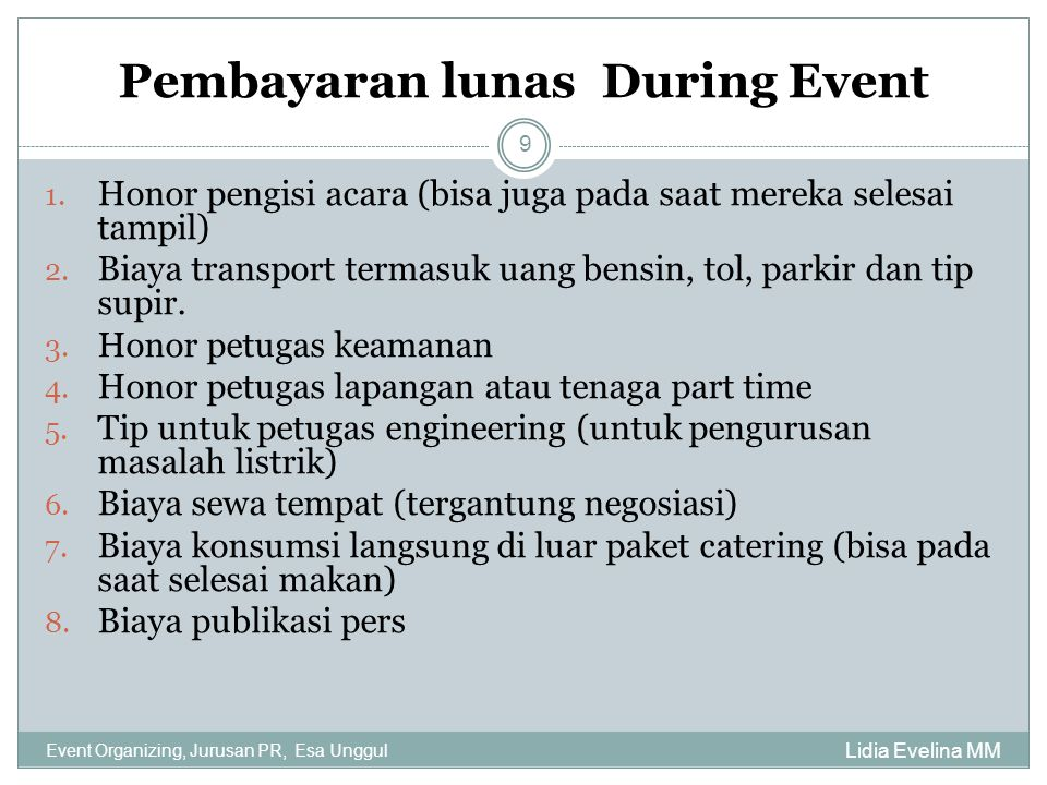 Pembayaran lunas During Event