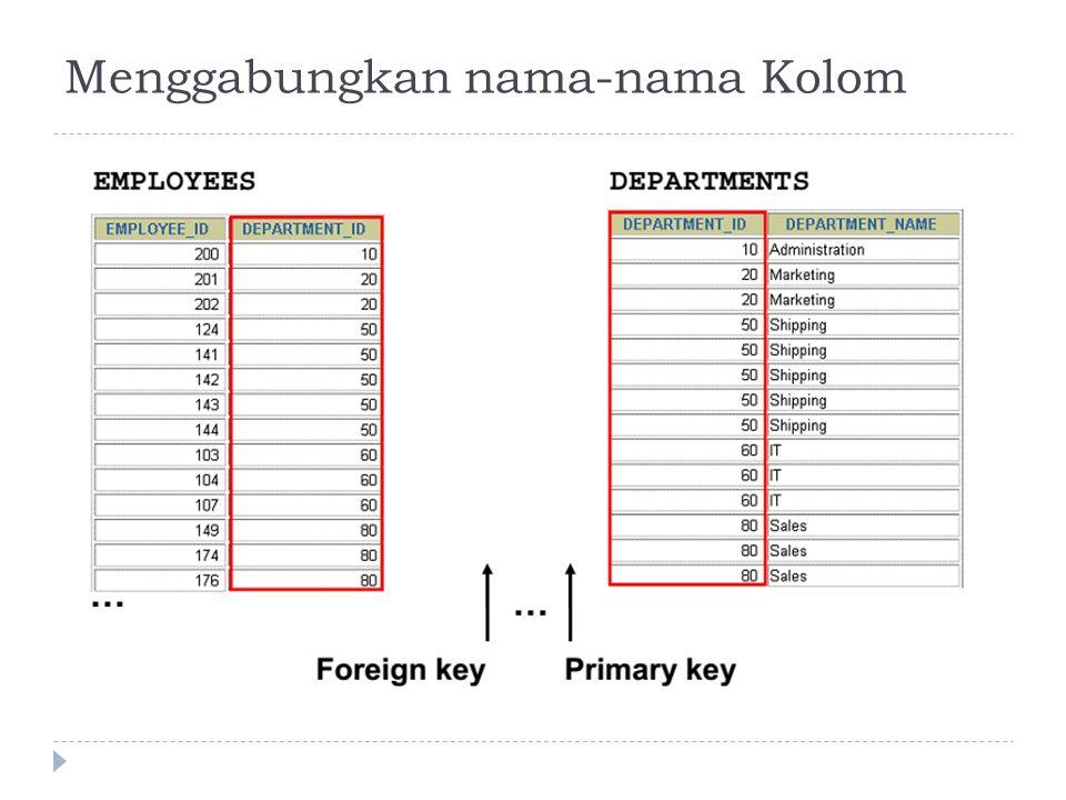Menggabungkan nama-nama Kolom