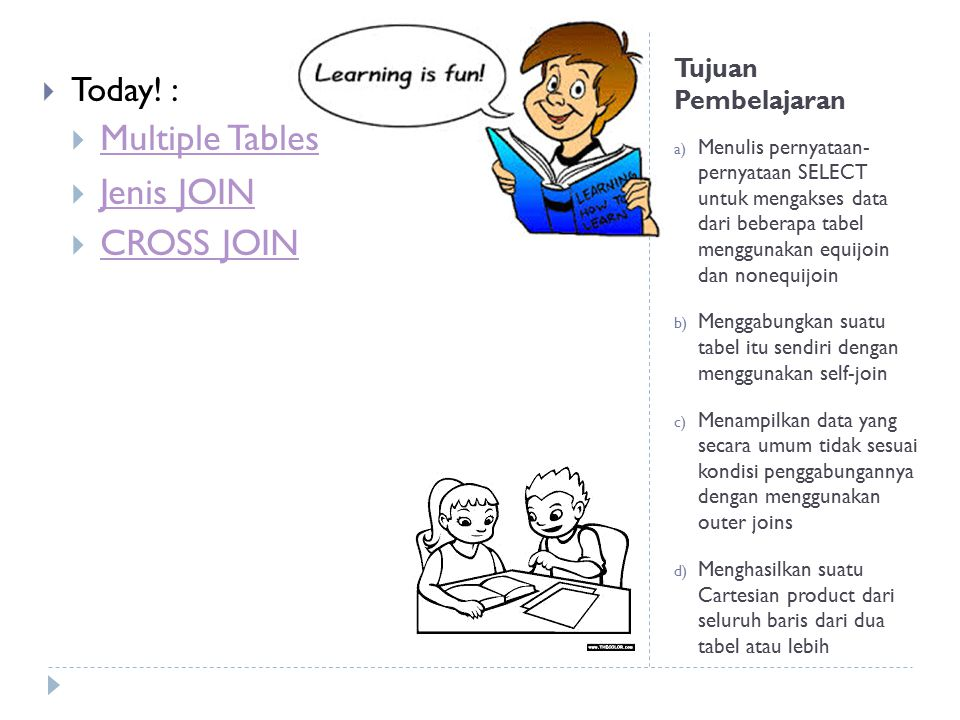 Multiple Tables Jenis JOIN CROSS JOIN Today! : Tujuan Pembelajaran