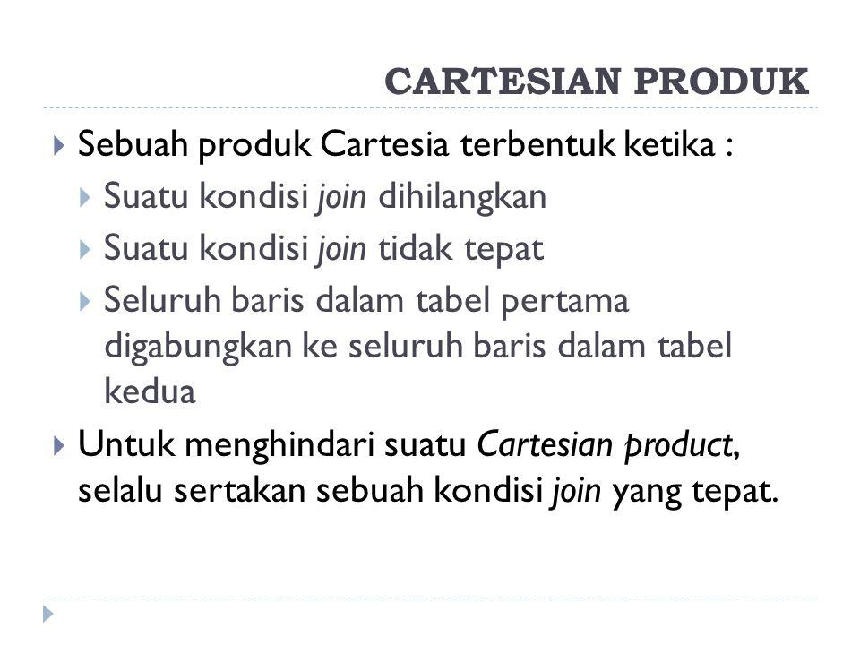 Sebuah produk Cartesia terbentuk ketika :