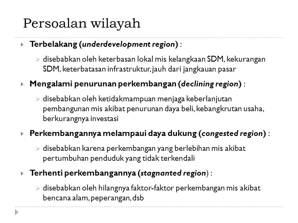 Persoalan wilayah Terbelakang (underdevelopment region) :