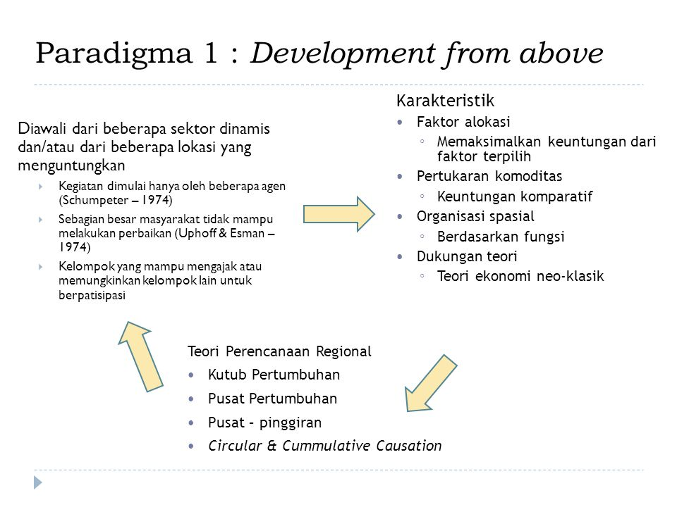 Paradigma 1 : Development from above