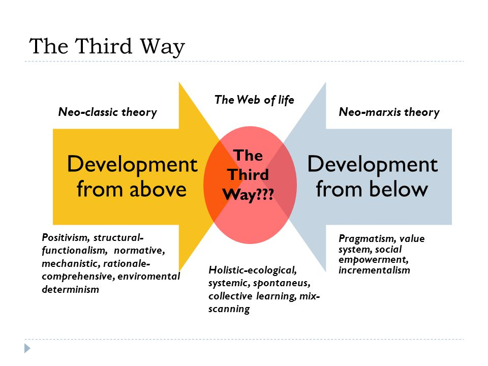 The Third Way The Third Way The Web of life Neo-classic theory