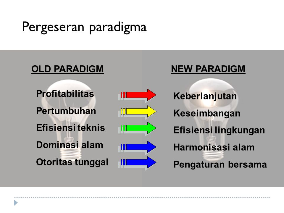 Pergeseran paradigma OLD PARADIGM NEW PARADIGM Profitabilitas