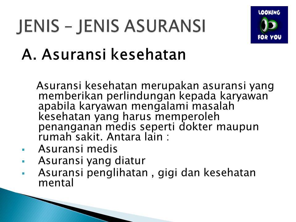 JENIS – JENIS ASURANSI A. Asuransi kesehatan Asuransi medis