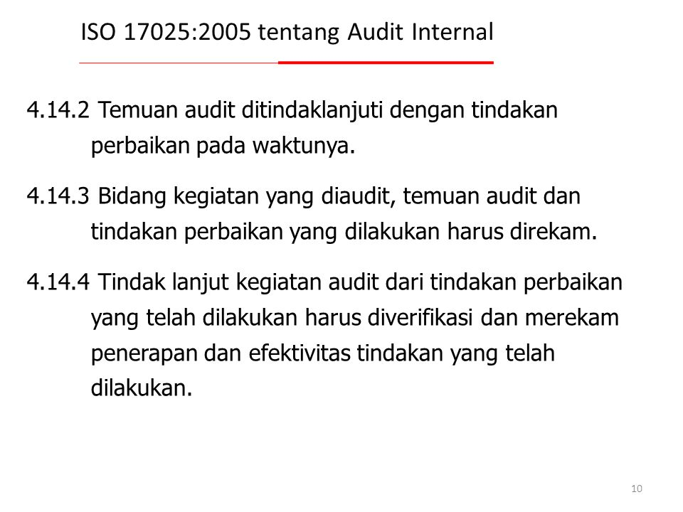 ISO 17025:2005 tentang Audit Internal