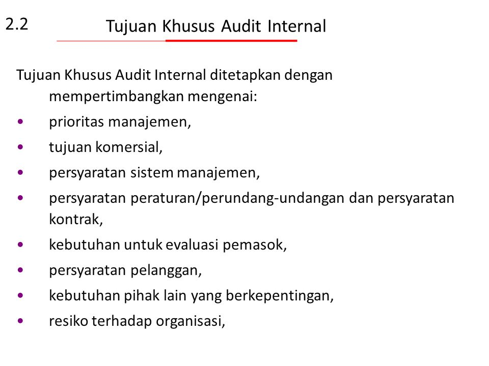 Tujuan Khusus Audit Internal