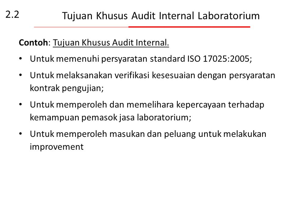 Tujuan Khusus Audit Internal Laboratorium