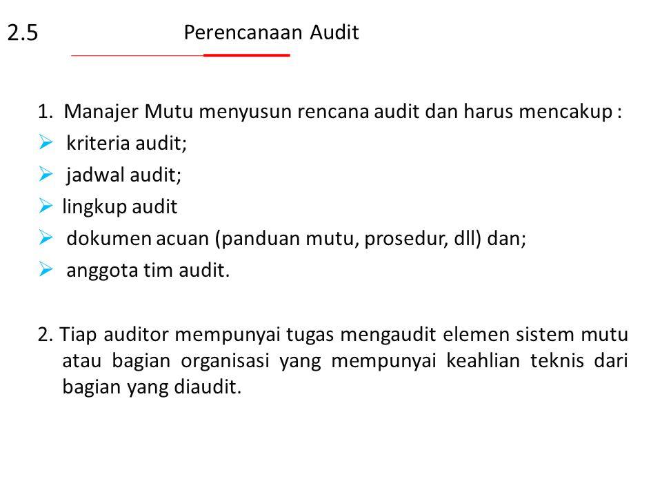 2.5 Perencanaan Audit. 1. Manajer Mutu menyusun rencana audit dan harus mencakup : kriteria audit;