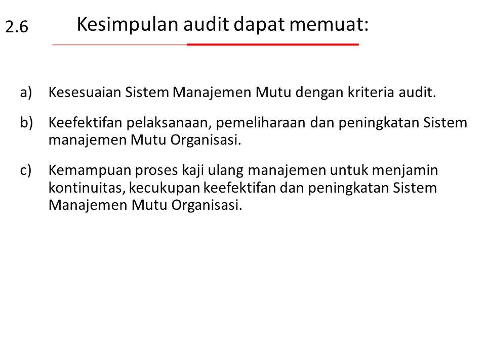 Kesimpulan audit dapat memuat: