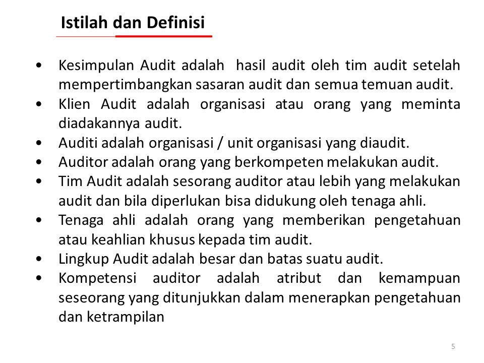 Istilah dan Definisi Kesimpulan Audit adalah hasil audit oleh tim audit setelah mempertimbangkan sasaran audit dan semua temuan audit.