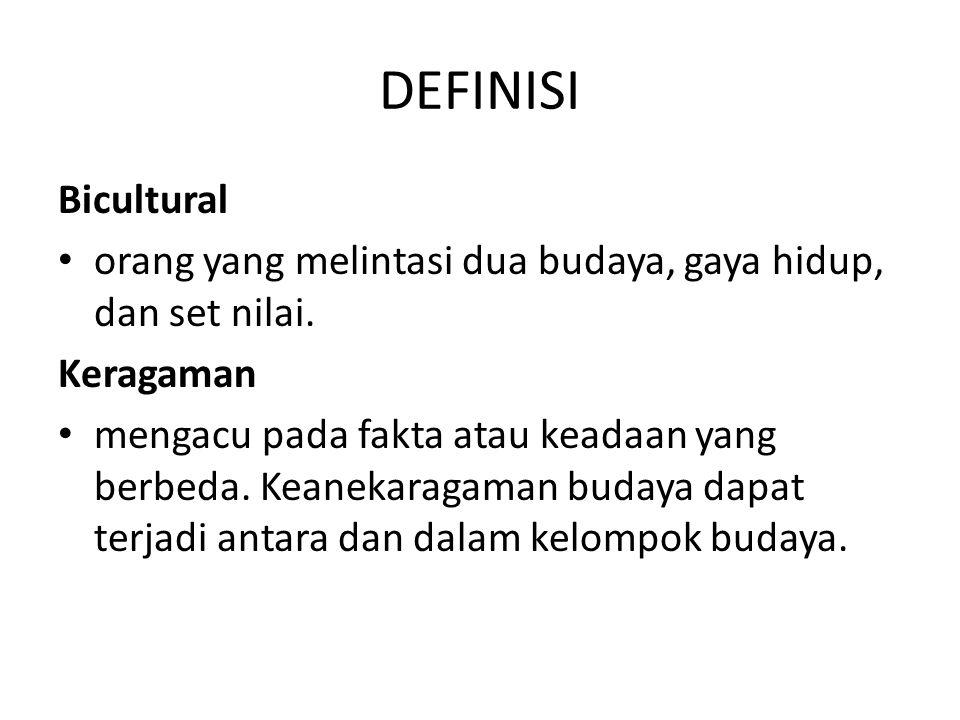 DEFINISI Bicultural. orang yang melintasi dua budaya, gaya hidup, dan set nilai. Keragaman.