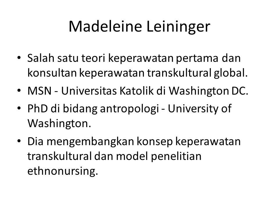 Madeleine Leininger Salah satu teori keperawatan pertama dan konsultan keperawatan transkultural global.
